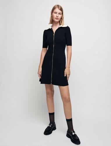 拉链领针织连衣裙 : 连衣裙 顏色 黑色/BLACK