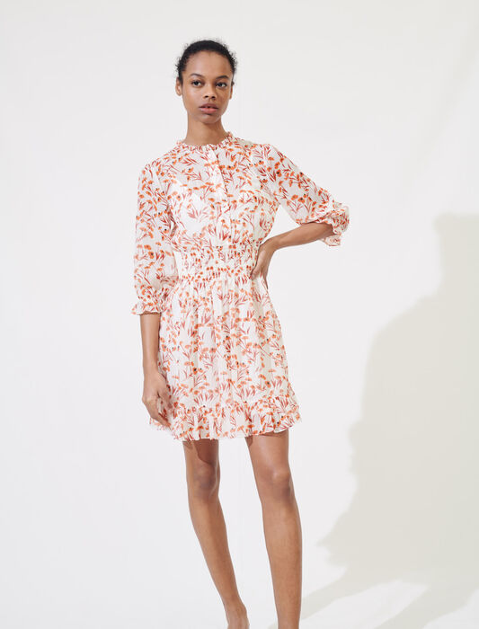 Printed smocked dress : Dresses color Terracota