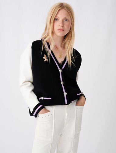 Bicolour college cardigan with patch : Cardigans color Ecru Black