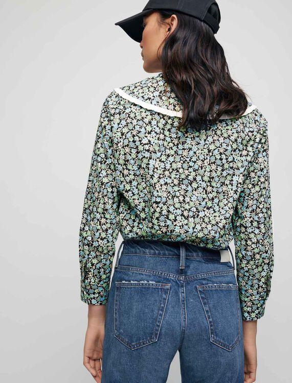 Printed cotton shirt with large collar - Shirts - MAJE