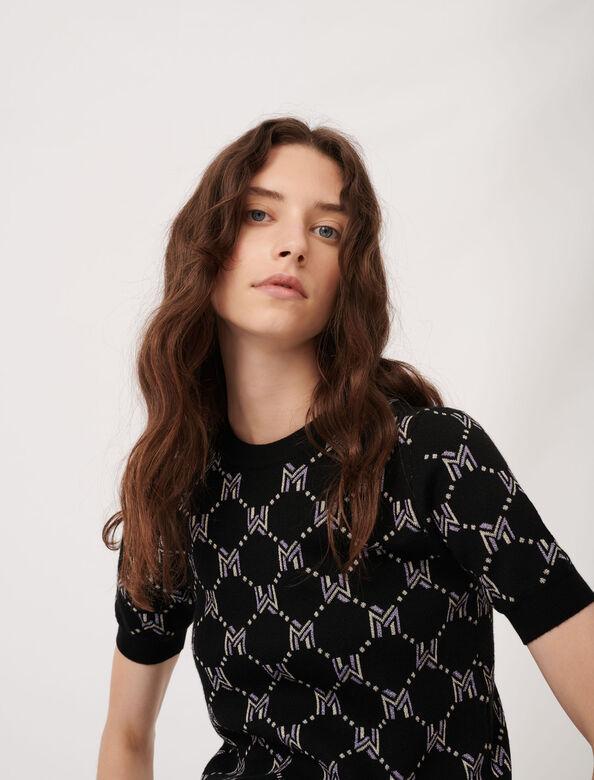 M monogram jacquard sweater : Sweaters color Black