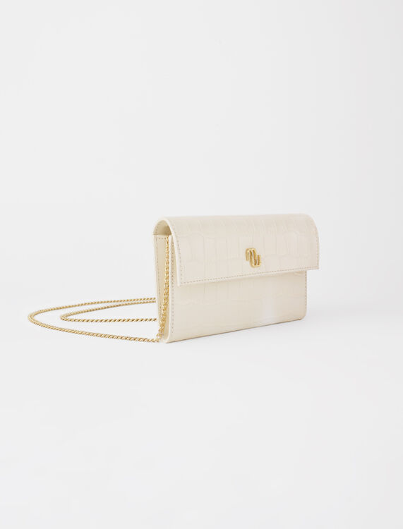 Croco embossed leather wallet with chain -  - MAJE