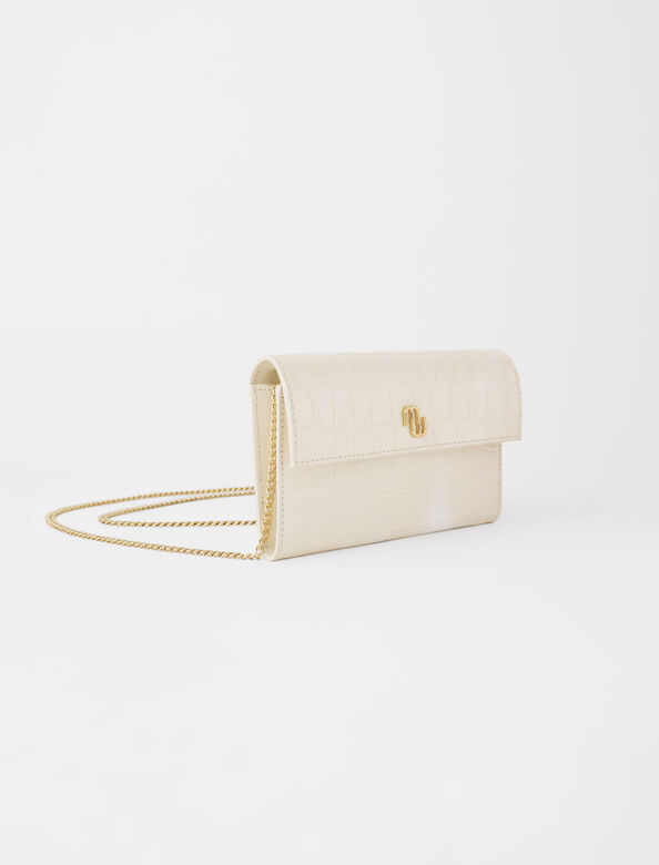 Croco embossed leather wallet with chain : Shoulder bags color Ecru