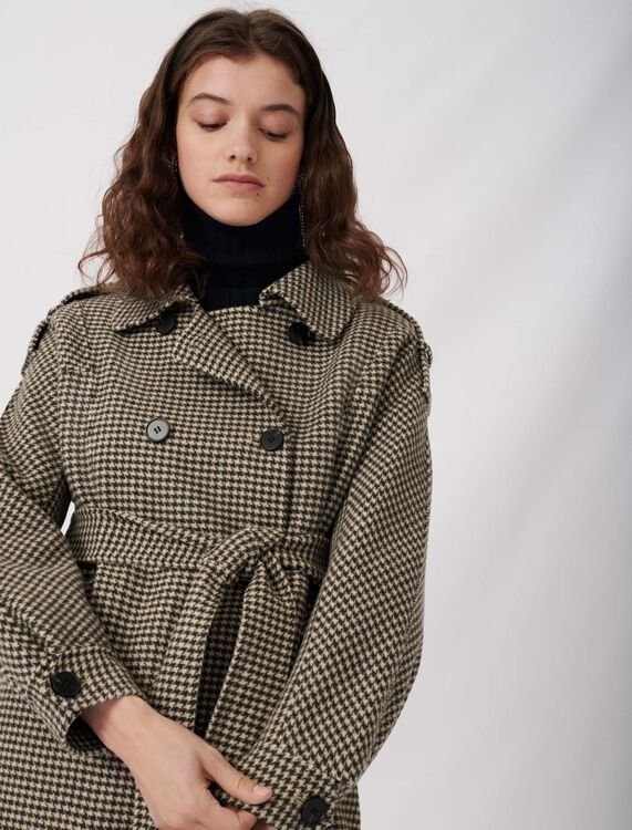 Belted dogtooth coat : Coats & Jackets color Brown