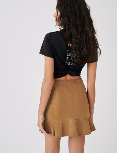 Ruffled suede skirt : Skirts color Camel