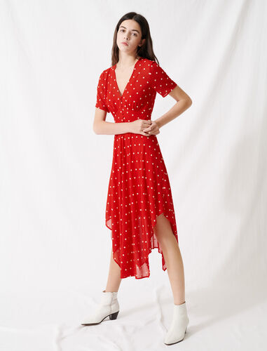 Long embroidered muslin dress : Dresses color Red