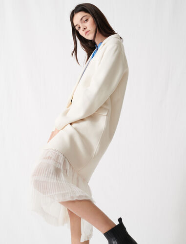 White double-faced midi coat : Coats & Jackets color White