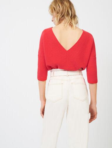 纯色V字七分袖针织衫 : View All 顏色 红色/BLUSH