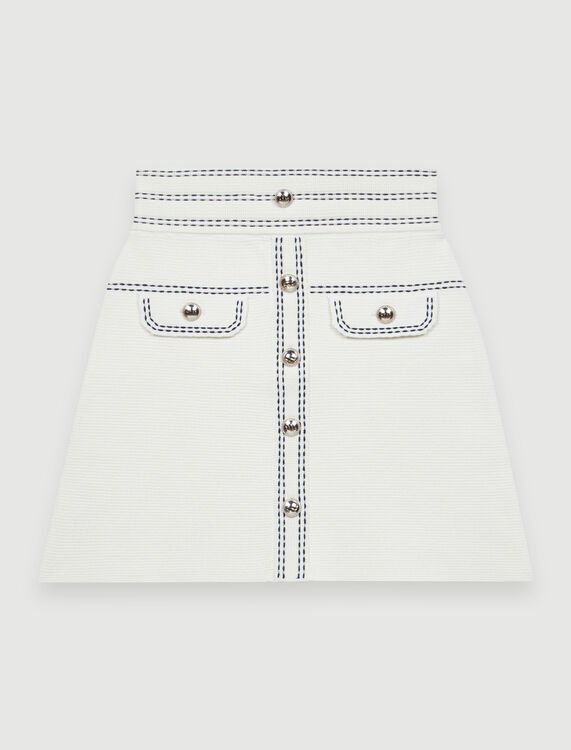Skirt with contrasting topstitching : Skirts color Ecru