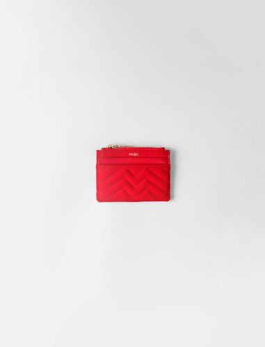 Zipped quilted velvet cardholder : Wallet and leather color Red