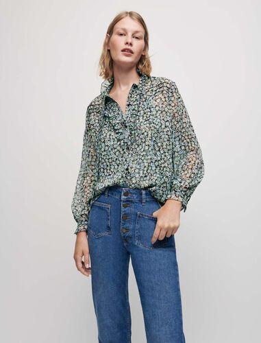 褶边领印花衬衫 : Shirts 顏色 灰绿色/CELADON