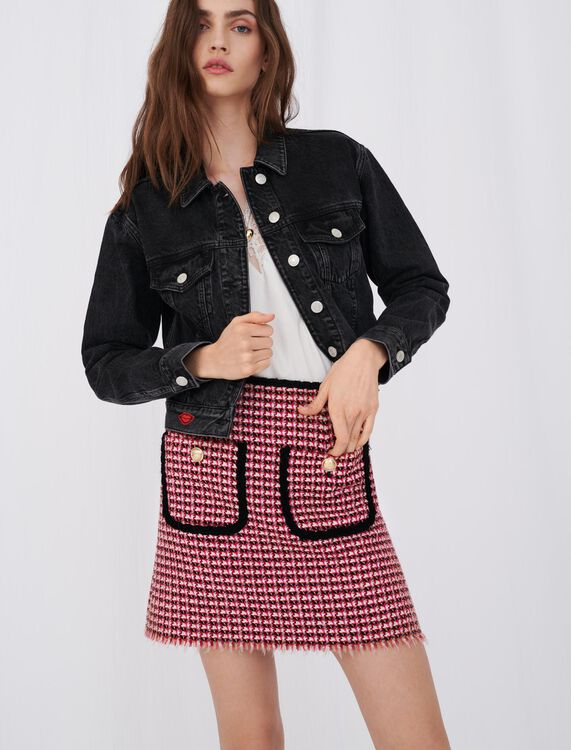 Denim jacket with badge - Coats & Jackets - MAJE