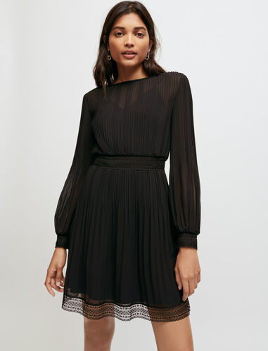 Muslin and lace smocked dress : Dresses color Black