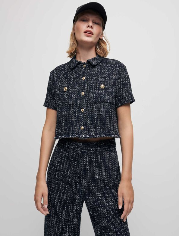 Tweed-style cropped shirt : Shirts color Navy