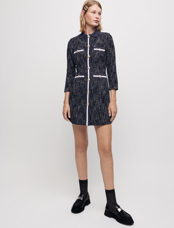 Tweed-style dress with contrasting bands - Dresses - MAJE