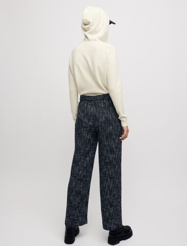 Wide-leg tweed-style trousers : Trousers color Navy