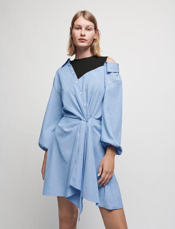 Trompe-l'oeil striped shirt dress - Dresses - MAJE