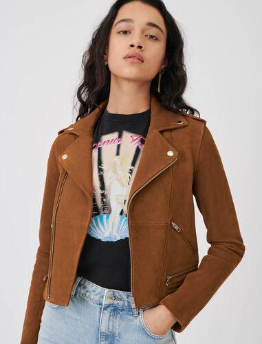 Suede biker-style jacket : Coats & Jackets color Camel