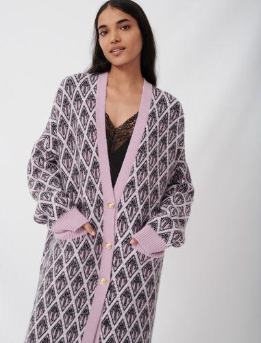 Maje monogram jacquard cardigan : Cardigans color Parma Violet