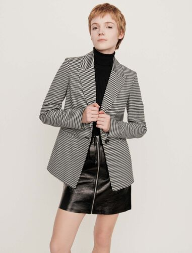 Belted houndstooth jacket : Blazers color White
