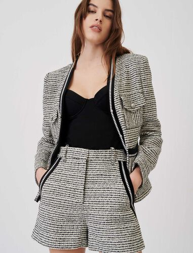 Marl and contrasting tweed-style shorts : Shorts color Black / White