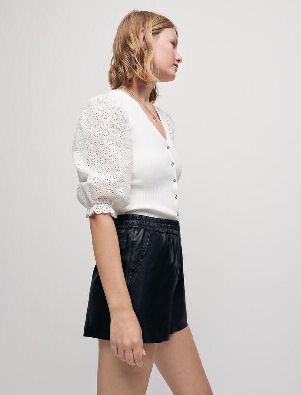 Elasticated lambskin leather shorts : Skirts & Shorts color Black