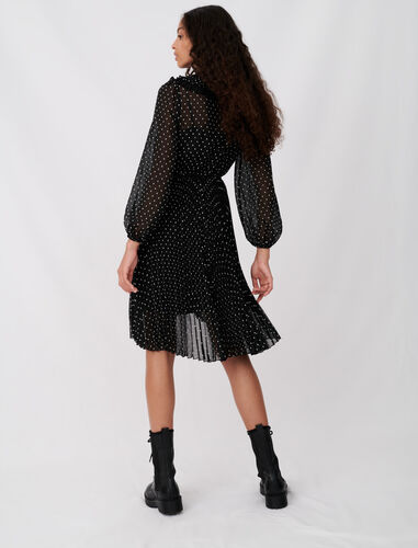 Polka dot effect pleated muslin dress : Dresses color Black / White