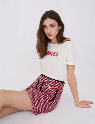 Straight skirt in contrast tweed : null color Fuchsia