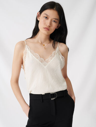 CREPE CAMISOLE WITH LACE : Tops color Ecru