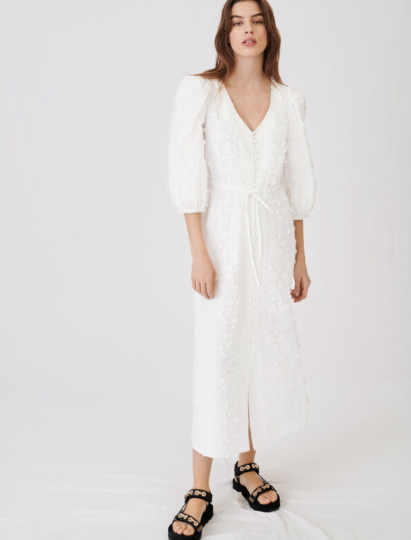 Embroidered dress, gathered at the waist : Dresses color White