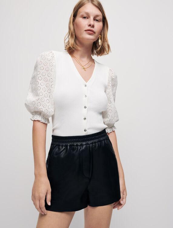 Elasticated lambskin leather shorts - Skirts & Shorts - MAJE