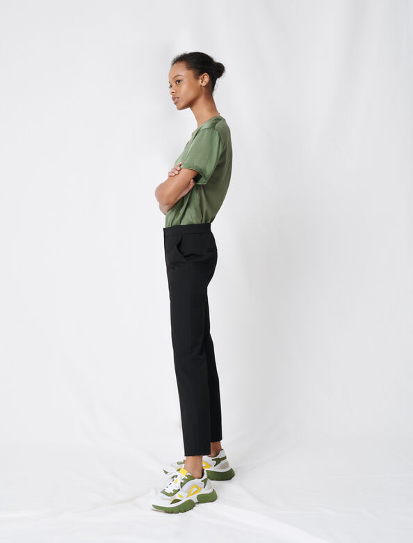 Stretch twill tailored trousers : Trousers color Black