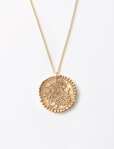 Capricorn zodiac sign necklace : Jewelry color Old Brass